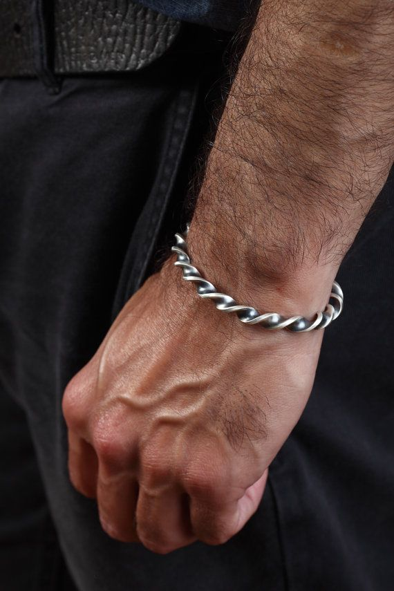 Twisted Mens Bangle Bracelet for Him in Solid Sterling Silver
