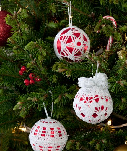 Free Crochet Patterns For Christmas Ball Covers : Christmas Tree Decor Crochet Pattern Red Heart ...