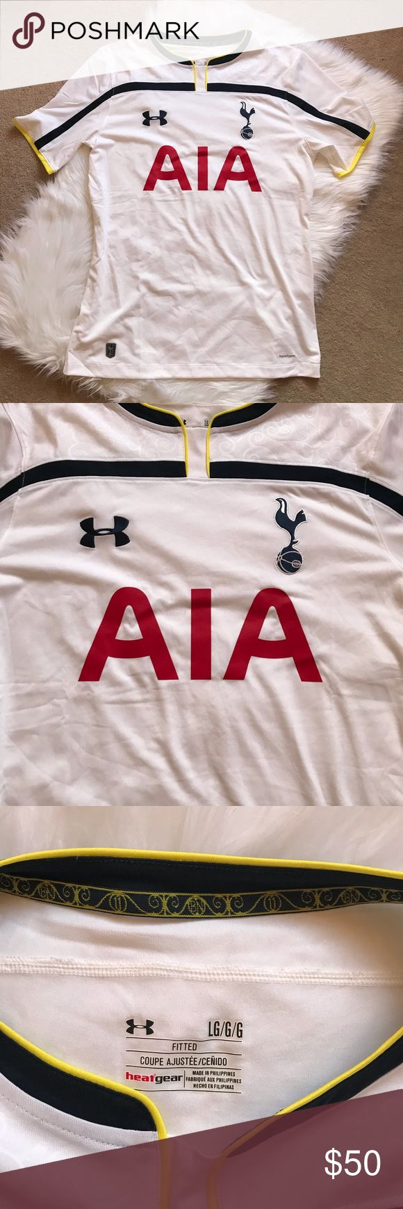 Under Armour Men's Tottenham Hotspur Jersey Under Armour Tottenham Hotspur Home 2014-2015 Replica Soccer Jersey.  UA Heat Gear Technology to stay cool, dry and comfortable.  Size large men's.  White.  Worn 1x.  Machine washed cold and hung dry.  No rips, stains or tears. Under Armour Shirts Tees - Short Sleeve