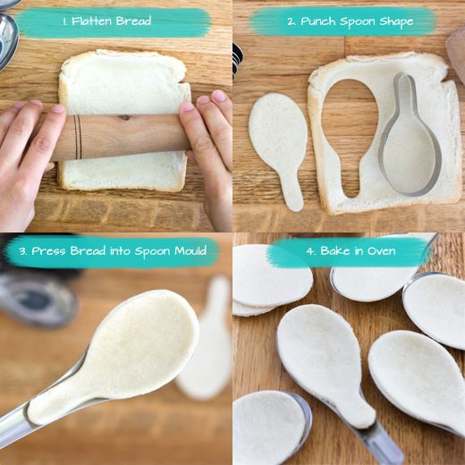 DIY Steps showing how to make edible spoons from bread