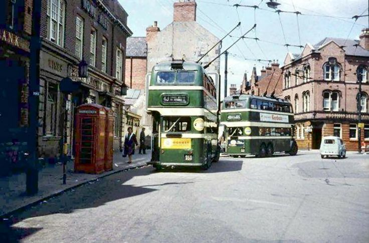 Trolleybuses in Bulwell Market Place, Nottingham, 1960s