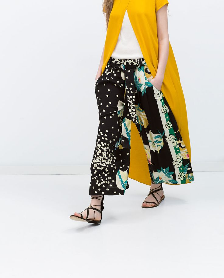 PRINTED loose fit, black, flora  TROUSERS with tie waist from Zara