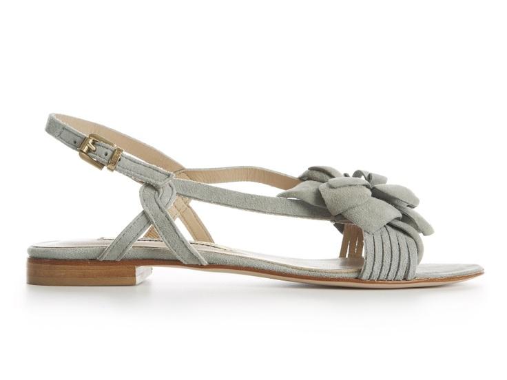 Gaia grey suede flat sandals