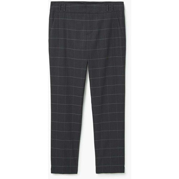 MANGO Check suit trousers ($40) ❤ liked on Polyvore featuring pants, suit trousers, zip pants, dress pants, checkerboard pants and mango trousers