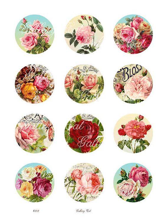 Collage digital hoja #212 CASA RURAL ROSA CÍRCULOS Este listado está para una hermosa colección de rosas antiguas! La hoja mide 8.5 x 11 pulgadas. Cada una de las doce imágenes mide 2 pulgadas. Resolución nítida, colorida y de calidad. 300dpi, perfecta para la impresión. formato jpg.