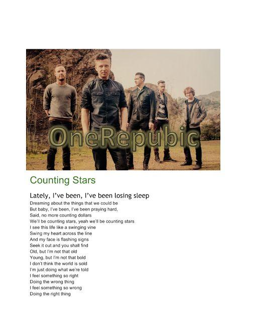 Counting Stars: canzone dei One Republic testo intero.
