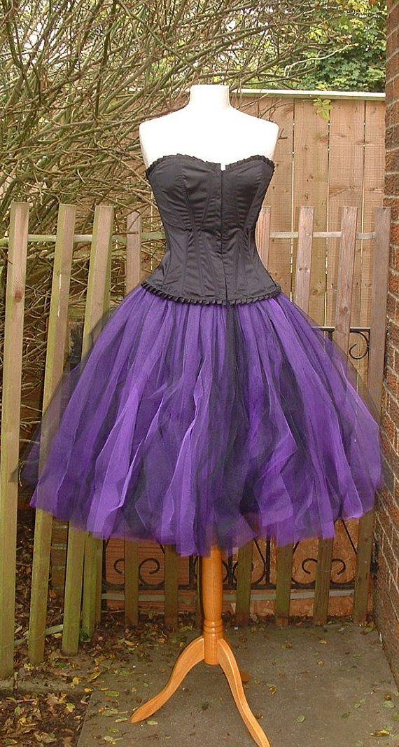 Tutu rok paars zwart onder de knie zigeuner lagenlook goth dans formele bruiloft ballet U.S. maat 6 8 10 12 14 16 S M L XL