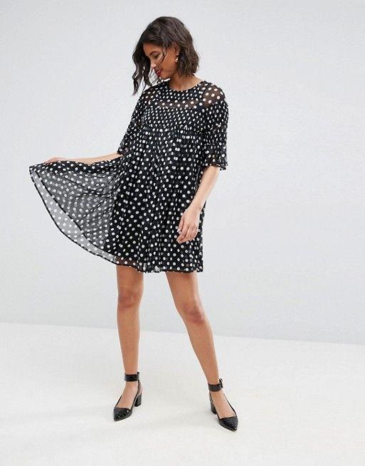 171d09370278 ASOS DESIGN | ASOS Spot Smock Mini Dress With Shirring Detail ...