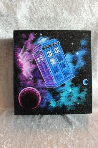 It's bigger on the inside - Doctor Who Tardis Nebula Hand Painted Wooden Box