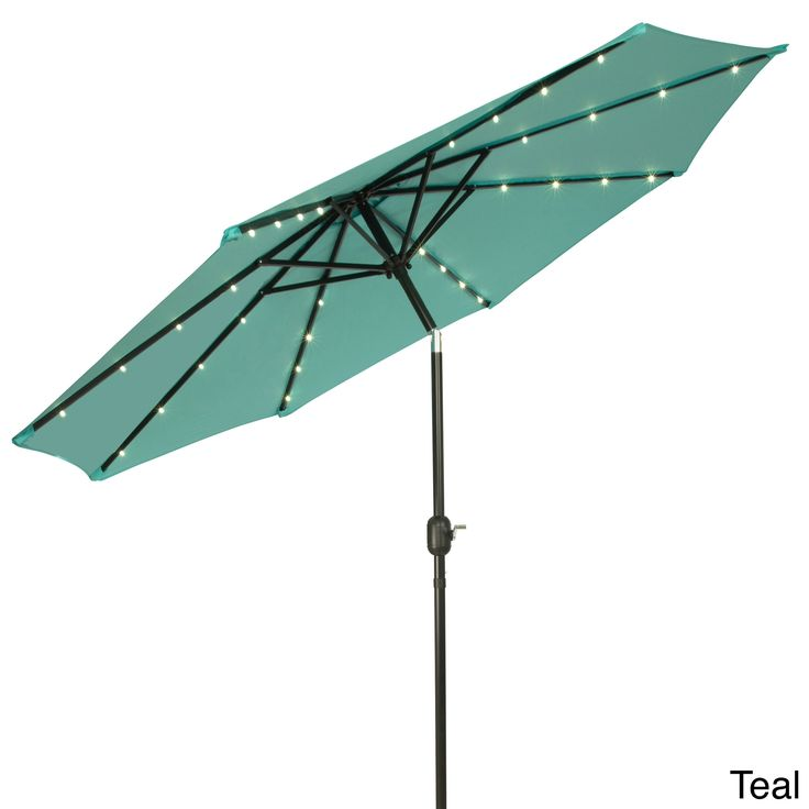 Trademark Innovations Deluxe 9 Foot Solar Powered LED Lighted Patio Umbrella  (Beige), Brown (Aluminum, Stripe) #PATUMB LED P