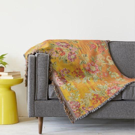 89 25 Yellow Gold Floral Eastern Oriental Print Throw Blanket