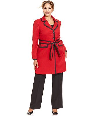 Le Suit Plus Size Pantsuit, Contrast-Trim Coat & Pants - Plus Size Suits & Separ... 15