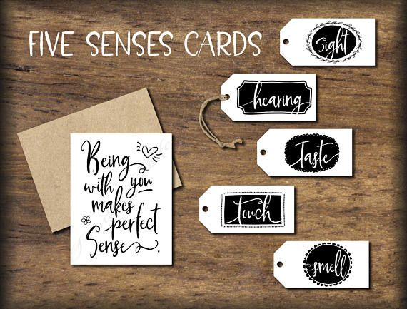 Add these cute tags to your gifts of sight, hearing, taste, touch, and smell.
