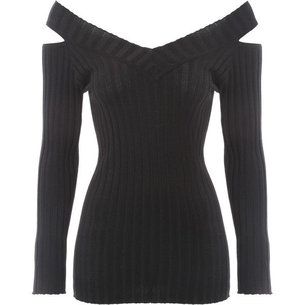 Jane Norman Black Cold Shoulder Rib Jumper ($42) ❤ liked on Polyvore featuring tops, sweaters, black, cut out shoulder tops, black ribbed sweater, black cold shoulder top, rib knit sweater and cold shoulder tops