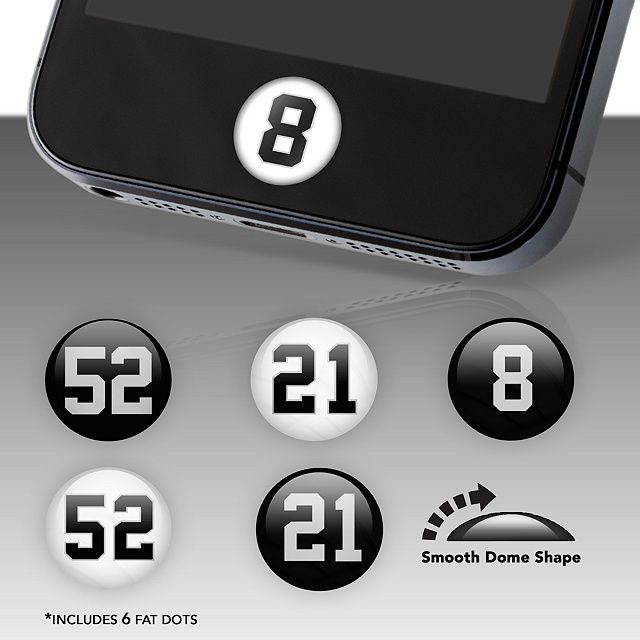 Oakland Raiders Player Numbers Fat Dots | Home Button Accessories