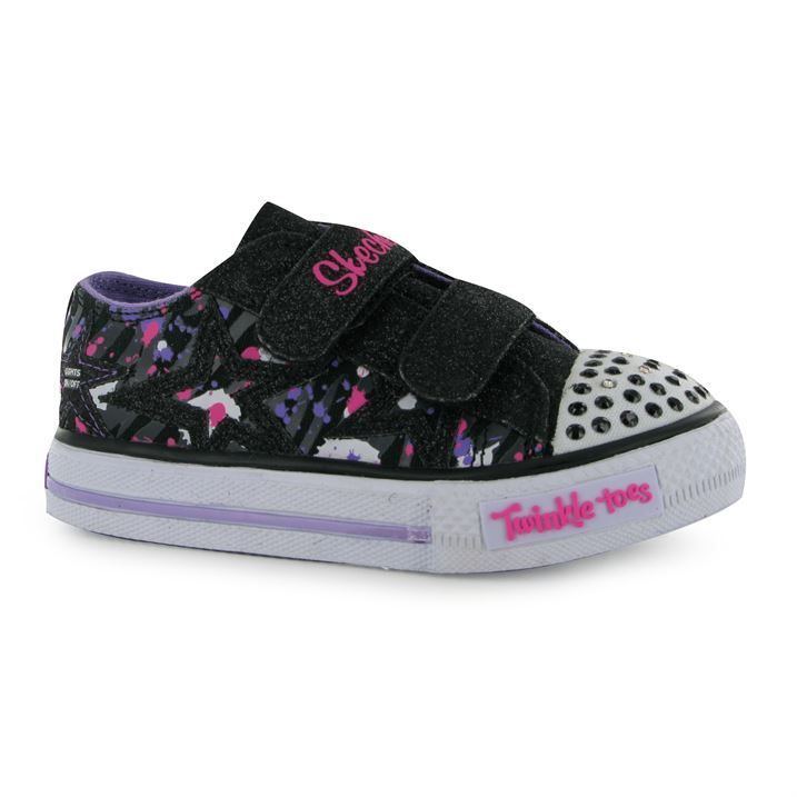Skechers-Kids-Twinkle-Toes-Shoes-Infant-Girl-Flat-Velcro-Casual-Fashion-Trainers