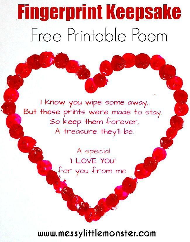 Fingerprint Heart Poem Kids Valentine Crafts Valentines Art