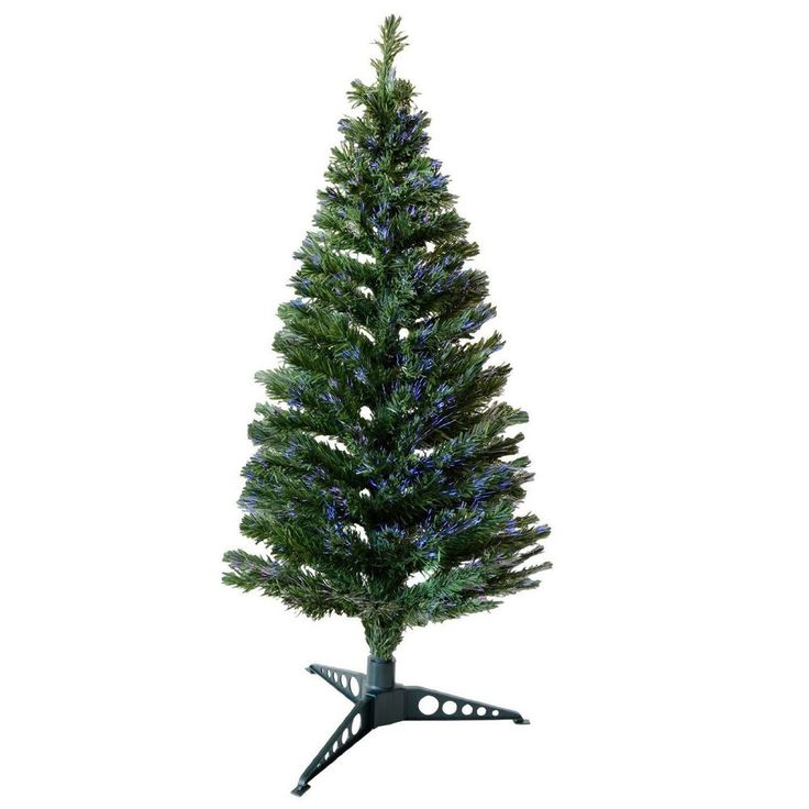 Fibre Optic Christmas Tree 5ft Indoor LED Multicolour Xmas Tree Stand Green