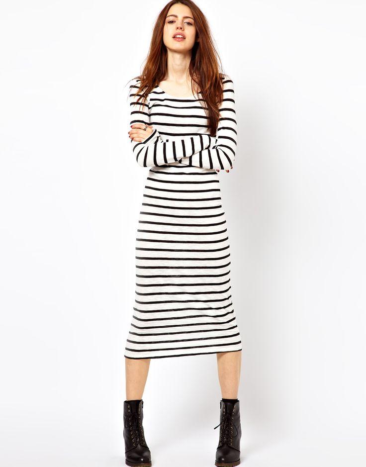 Just Female Striped Jersey Maxi Dress