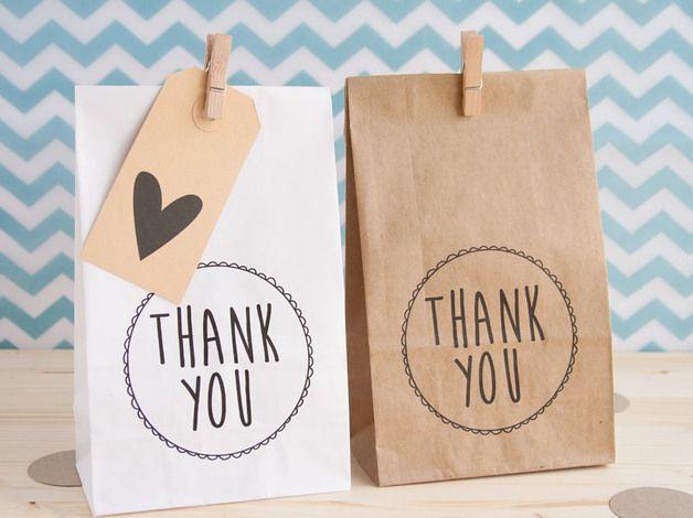 Papieren zakjes 'Thank you' - set van 5