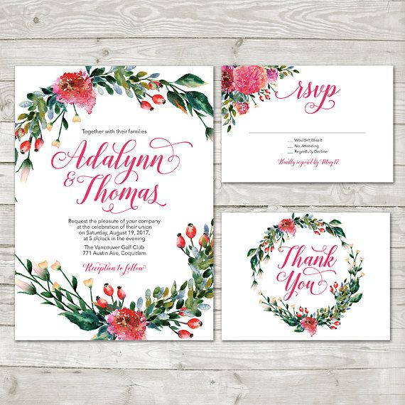 Watercolor Flower Wreath Wedding Invitation peach Floral