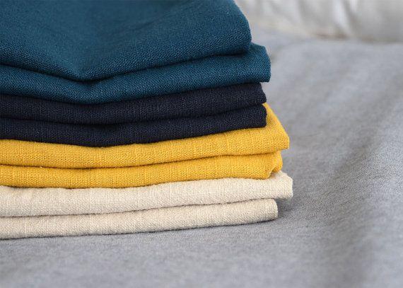 Juego 8 servilletas de lino 4 colores distintos | Jugo de mesa | beige, azul marino, mostaza y azul petróleo | Servilletas de lino | Rústico    Set de