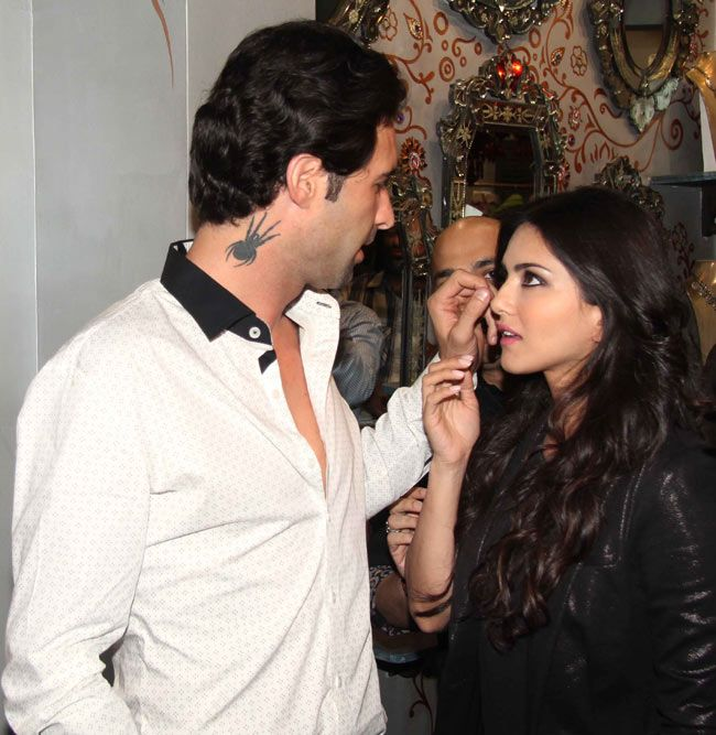 Sunny Leone and Daniel Weber at the launch of designer Mayyur Girotra's new store. #Style #Bollywood #Fashion #Beauty