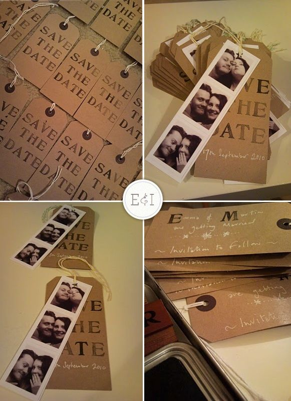Handmade Save the Dates on kraft paper tags
