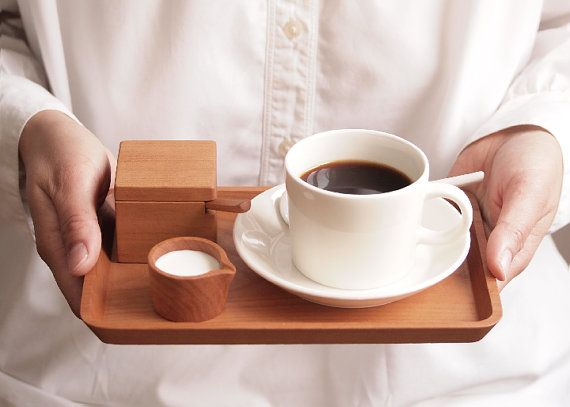 Petit Cafe Set. Wood Spoon. Wood Tray. Suger by HitonariWorks.....this has my name wrote all over it!!