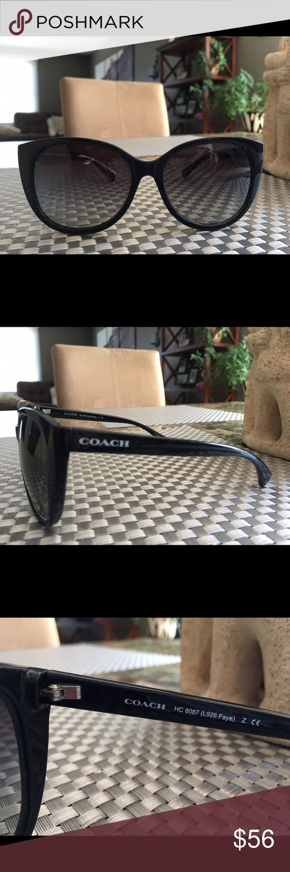 COACH Sunglasses 😎 Black cat like sunglasses authentic by Coach.  White Coach name on both arms.  A couple of tiny scratches on lenses, not bad at all.  Price reflects this.  Can not be seen on the outside when wearing.  Great looking pair of shades. Coach Accessories Sunglasses