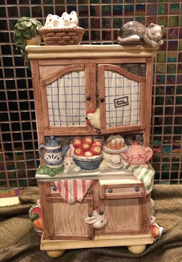 "Fitz & Floyd Kitchen Cousins Hutch Centerpiece Vase Rabbits 1993 Rare HTF 14"" #FitzandFloyd"
