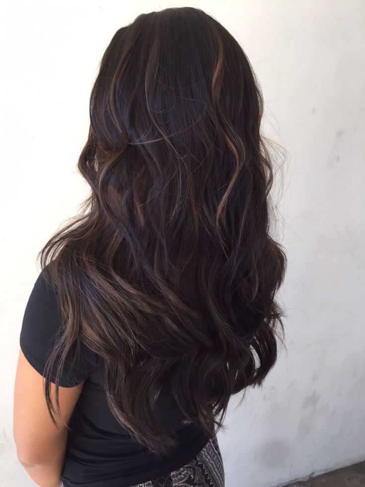 Dark hair, balayage highlights, ashy brown hair, smoky hair, dark gray hair