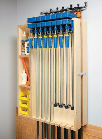 Wall Mounted Clamp Rack Woodsmith Plans Tool Storage