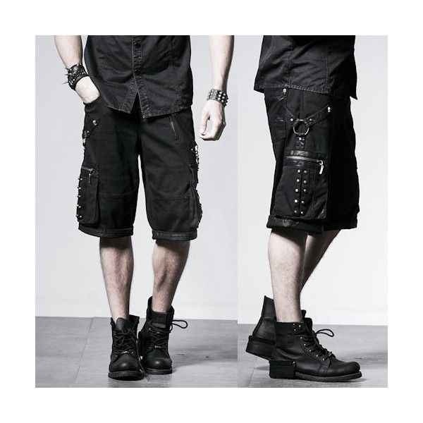 Men Black Heavy Metal Studded Punk Rock Biker Fashion Bermuda Shorts... ❤ liked on Polyvore featuring men's fashion, men's clothing, men's activewear, men's activewear shorts, mens activewear shorts and mens activewear