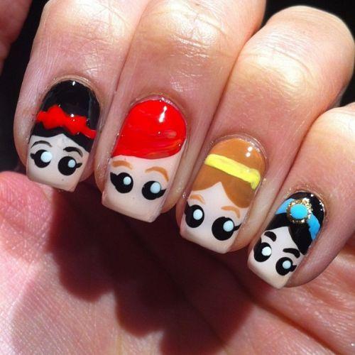 Princess Cartoon Nails Design
