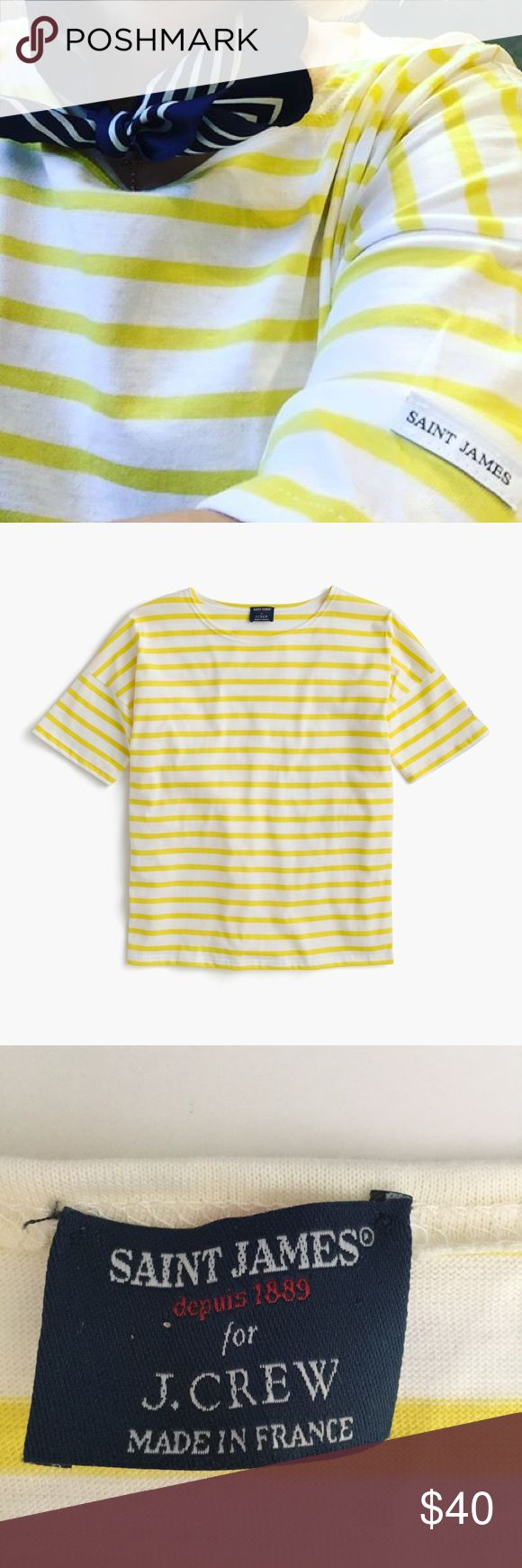 Saint James For J. Crew short sleeve slouchy tee Saint James has been spinning some of the world's finest knits out of its Normandy-based factory since 1889 and has become famous for its Breton shirt, a nautical-inspired style featuring classic stripes. Designed exclusively for J. crew, this airy cotton version features a roomy body and slimmer sleeves. The quintessential summer tee!! In excellent condition. The navy photos are included to show fit. J. Crew Tops Tees - Short Sleeve