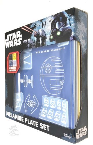 Star Wars Melamine Blueprints Plate Set 4pc New Star Wars Blueprints Plate Set A long time ago in a galaxy far, far away...we discovered this Star Wars Blueprints Plate Set! With four bold and bright designs (2x Rebel Alliance, 2x Empire) featuring fantastic blueprint graphics of Yoda, Darth Vader and a range of vehicles and droids. These durable and easy clean melamine plates make the perfect addition to any dinner party, on or off world. Each plate measures 8 x 8-inches. Dishwasher safe…