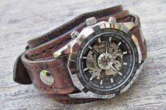 Steampunk Leather Watch, Retro Wrist Watch, Vintage Brown Watch, Bracelet Watch, Mechanical Watch