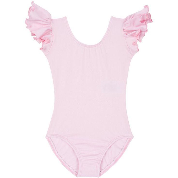 LIGHT PINK Leotard w/ Flutter Ruffle Short Sleeve for Toddler & Girls – The Leotard Boutique - XS 18mth-3T