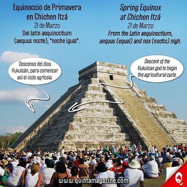 Equinoccio de Primavera en Chichén Itzá (21 de Marzo). Durante los equinoccios de primavera y otoño, al topar los rayos de Sol en la escalera principal y se produce un espectáculo de luz y sombra. Se forman triángulos de luz producto de la sombra que proyectan los nueve cuerpos o plataformas de la pirámide. Esa sombra, conforme avanza el sol, se desliza hacia abajo hasta iluminar la cabeza de una de las serpientes que se encuentran al inicio de la escalinata. Según los investigadores, esto…