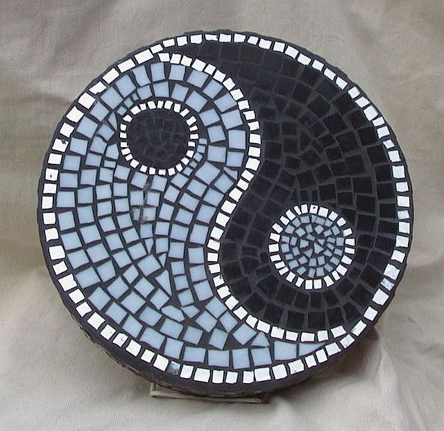 Yin Yang garden ornament out of some left over mosaic tiles