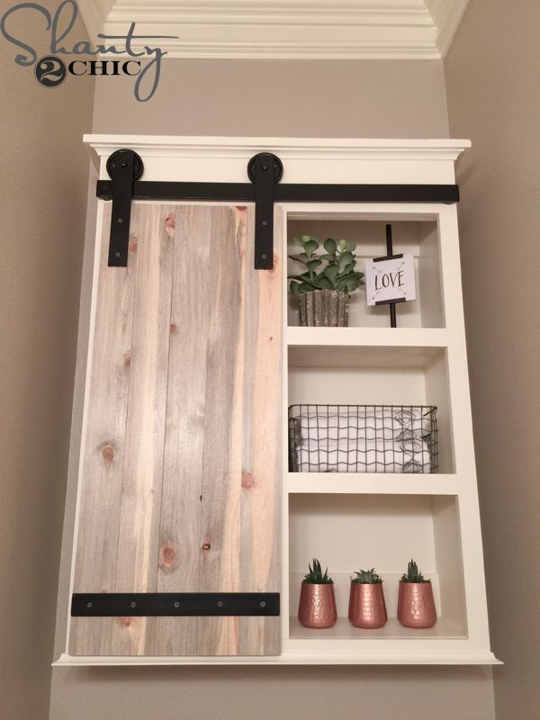 Diy Sliding Barn Door Bathroom Cabinet Woodworking Projects Cabinets