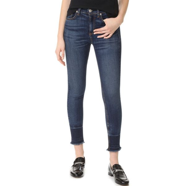 Rag & Bone/JEAN Capri Jeans (16,095 INR) ❤ liked on Polyvore featuring jeans, faded blue jeans, cropped jeans, dark wash jeans, cuffed capri jeans and zipper skinny jeans