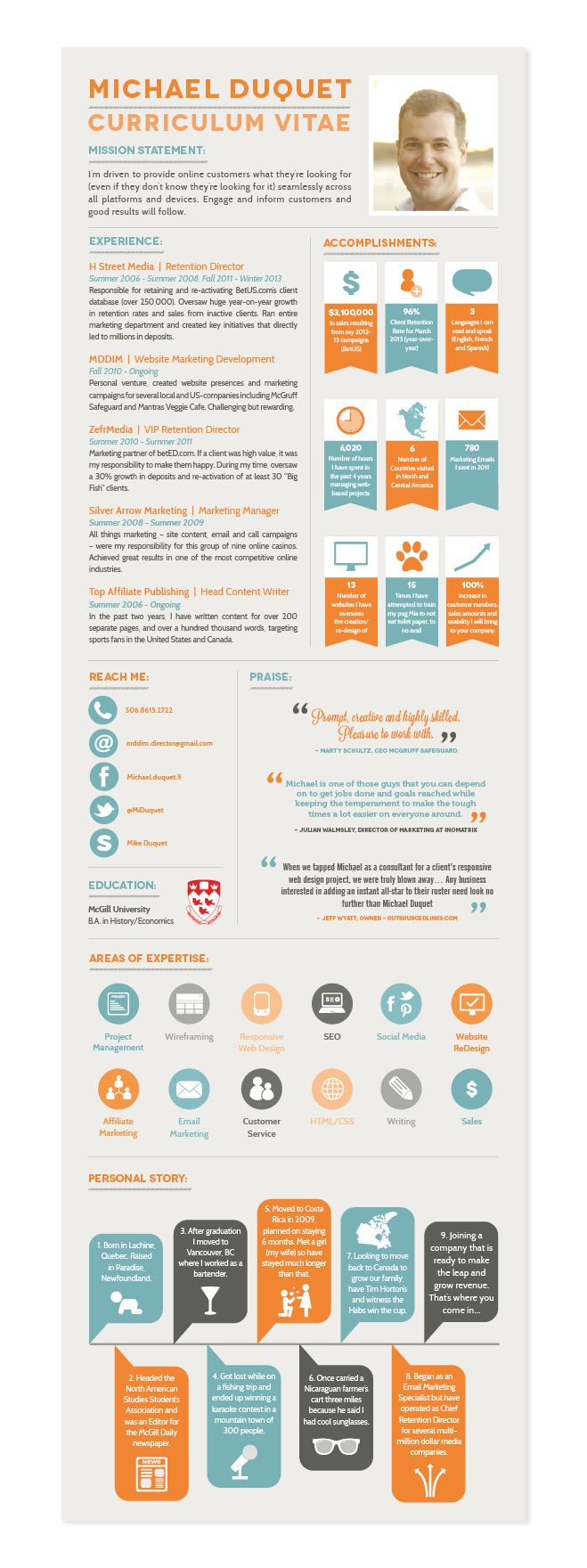 An infographic CV or Resume I designed for Mike Duquet #infographic #CV #Resume