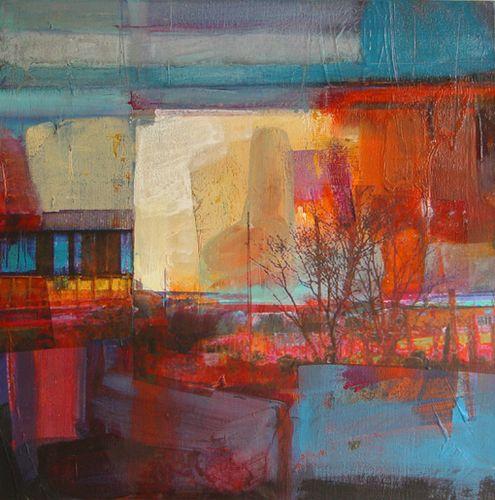 Evening Light Feaney Fields, mixed media