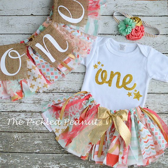 Pink Mint Gold Coral 1st Birthday Girl Outfit 1st Birthday Outfit Baby Tutu Baby…