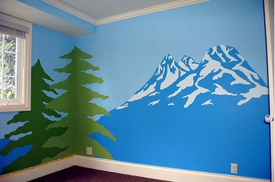 Look mountain mural paint train tracks and trains for Easy mural painting