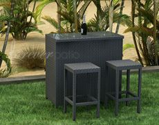 The highly modern design of the Hampton Collection is now available as a stylish outdoor bar with the 3 Piece Hampton Bar Set by Forever Patio (FP-HAM-3BAR). The set provides seating for 2 right at the bar, giving you and your guests a place to relax while enjoying or waiting for their drinks. This set features Chocolate wicker, which is made from High-Density Polyethylene (HDPE) for outdoor use.