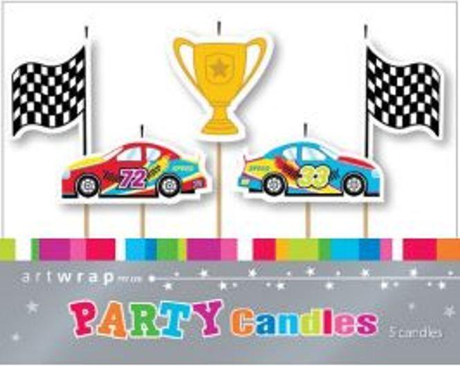 Grand Prix Car Racing Party Candle Picks - 5 Piece