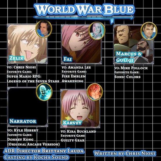 Media Blasters Reveals More English Dub Cast for World War Blue Anime      Chris Niosi, Amanda Lee, Mike Pollock join cast        North American anime licensor Media Blasters revealed five more cast members on Wednesday ...